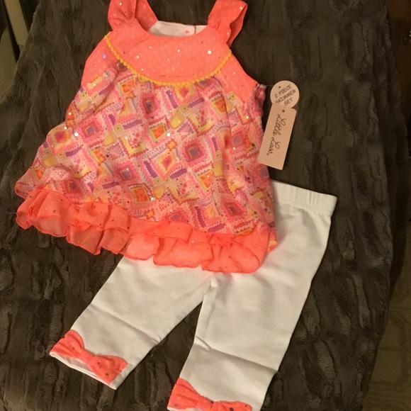 56a0ca94288d Little Lass Matching Sets | Nwt 2pc Baby Girl Chiffon Top Capri Set ...
